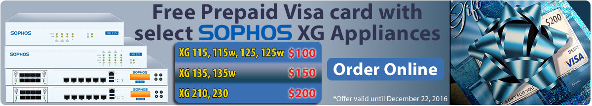 Free Prepaid Visa card with select Sophos XG Appliances!