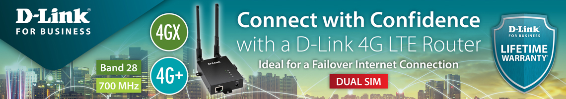 D-Link for Business - DWM-312 4G LTE Router - Connect with Confidence. Ideal for a Failover Internet Connection - Dual Sim, 4GX, 4G+, Band 28, 700 MHz